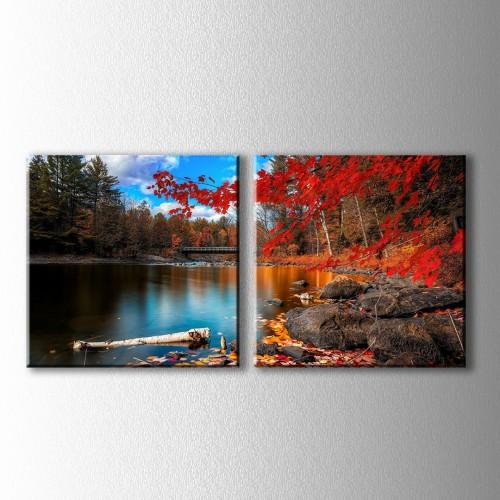2 Parçalı Kırmızı Yapraklı Ağaç ve Köprü Kanvas Tablo