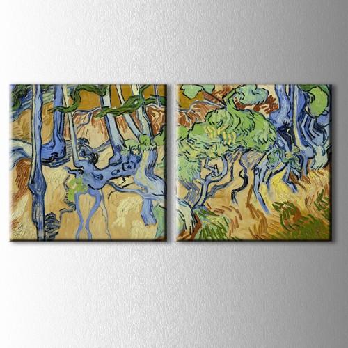 İki Parçalı Van Gogh Ağaç Kökleri Kanvas Tablo