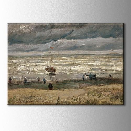 Van Gogh Fırtınalı Havada Scheveningen Sahili Kanvas Tablo