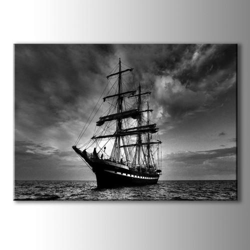 Özel Dekoratif Siyah Beyaz Gemi Kanvas Tablo