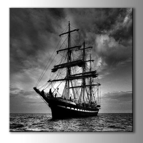 Özel Dekoratif Siyah Beyaz Gemi Kare Kanvas Tablo
