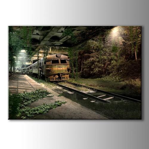 Özel Dekoratif Yeşil Tren Kanvas Tablo