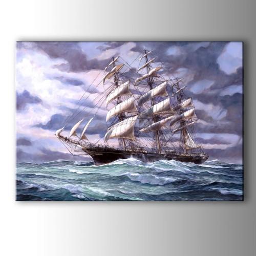 Yağlı Boya Görünümlü Yelkenli Kanvas Tablo