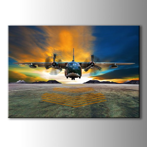 Renkli Gökyüzü Uçak Kanvas Tablo