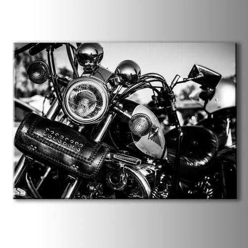 Siyah Beyaz Motor Kanvas Tablo