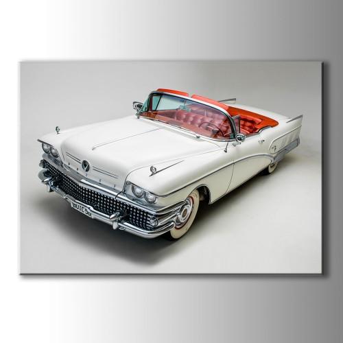 Üstü Açık Klasik Krem Araba Kanvas Tablo