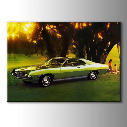 Klasik Yeşil Araba Kanvas Tablo