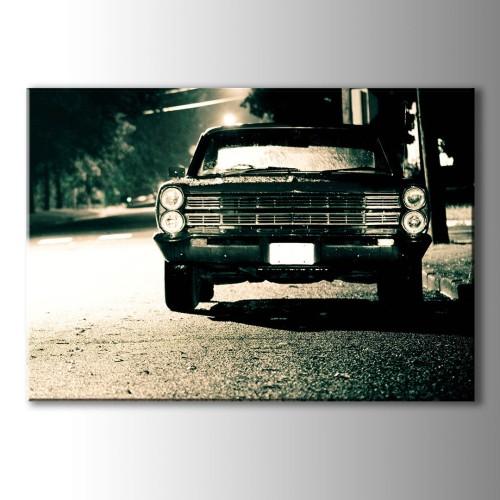 Siyah Beyaz Klasik Araba Kanvas Tablo