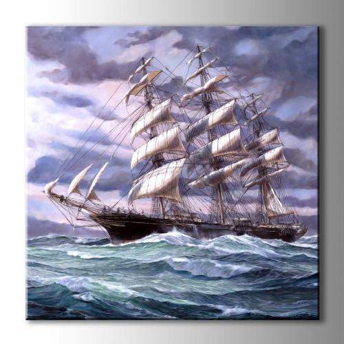 Özel Yağlı Boya Çizim Yelkenli Kare Kanvas Tablo