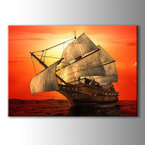 Özel Çizim Gemi Kanvas Tablo