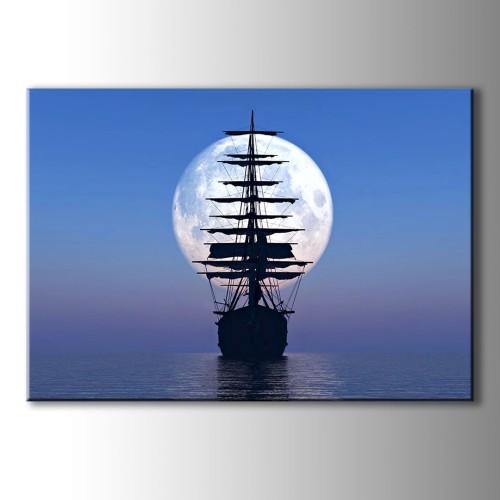 Özel Çizim Gemi ve Ay Kanvas Tablo