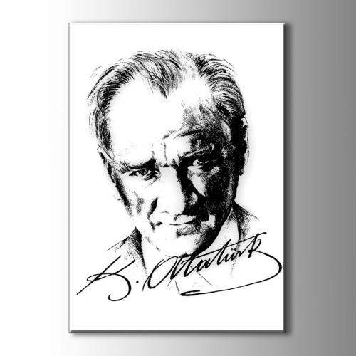 Atatürk İmzalı Kanvas Tablo