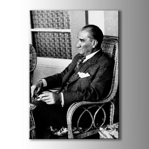 Atatürk Siyah Beyaz Kanvas Tablo