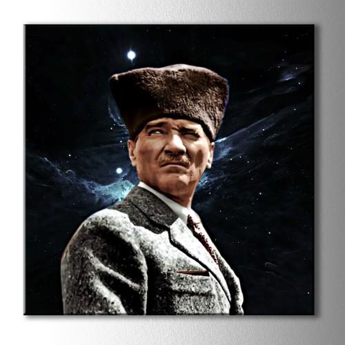Atatürk ve Yıldızlar Kanvas Kare Tablo