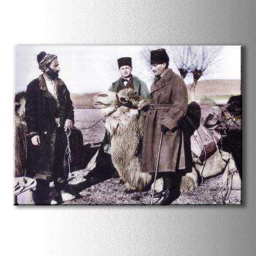 Atatürk ve Deve Tüccarı Kanvas Tablo