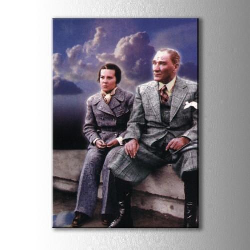 Atatürk ve Sabiha Gökçen Kanvas Tablo