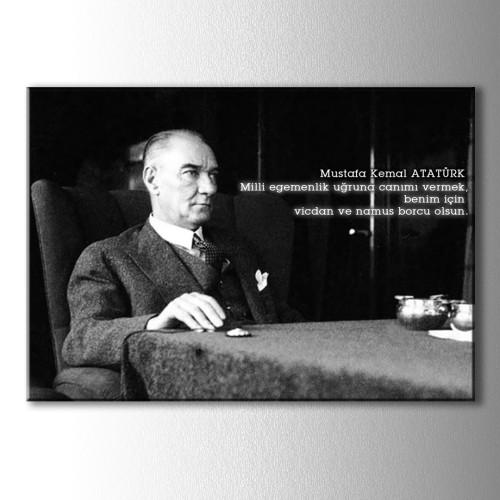 Atatürk Sözleri Yazılı Kanvas Tablo