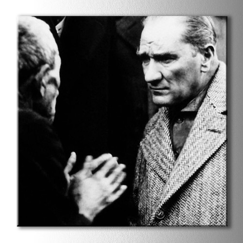 Atatürk Halkı Dinlerken Kare Kanvas Tablo