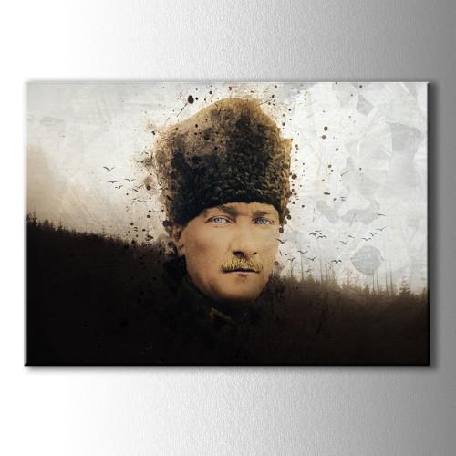 Atatürk ve Kuşlar Yağlı Boya Görünümlü Kanvas Tablo