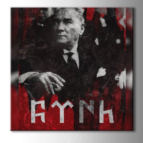 Türk Yazılı Atatürk Kare Kanvas Tablo