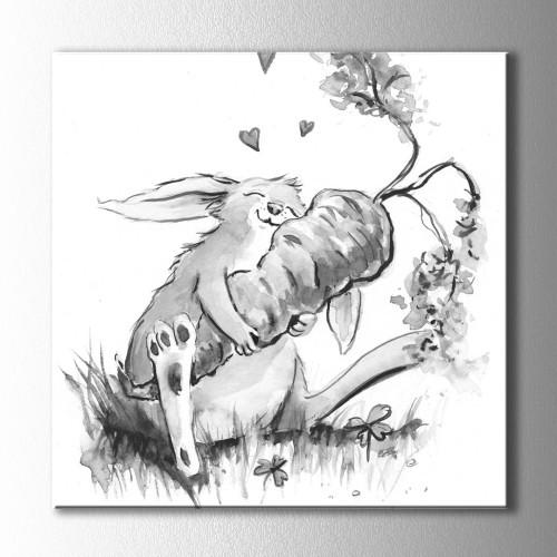 Havuç ve Tavşan Kare Kanvas Tablo