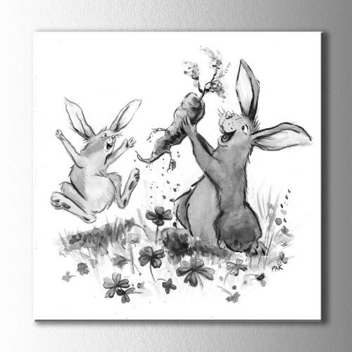Havuç ve Mutlu Tavşan Kare Kanvas Tablo