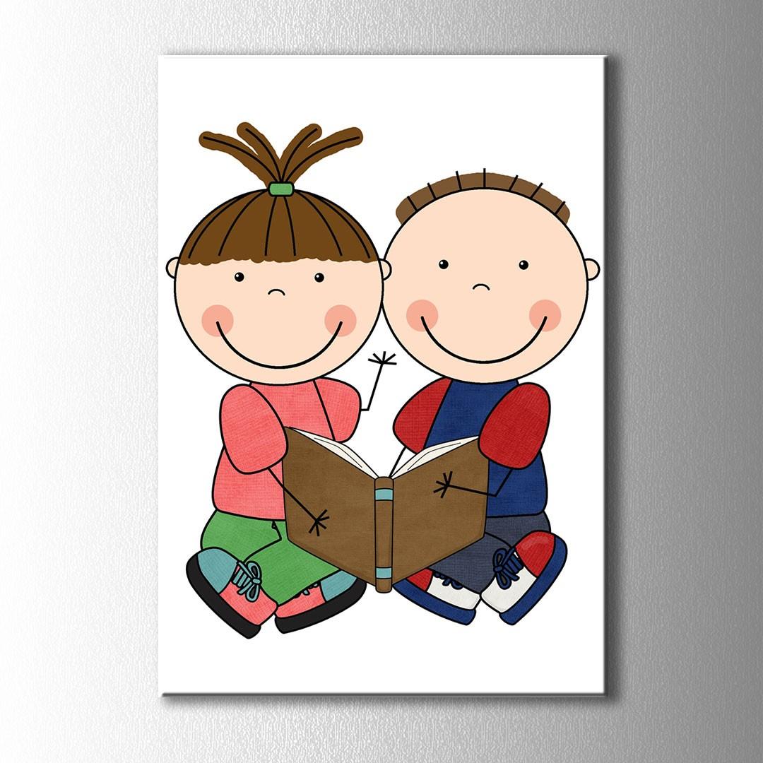 Kitap Okuyan çocuklar Kanvas Tablo