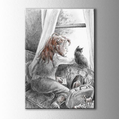 Karakalem Dışarıyı izleyen Çocuk ve Kedi Kanvas Tablo