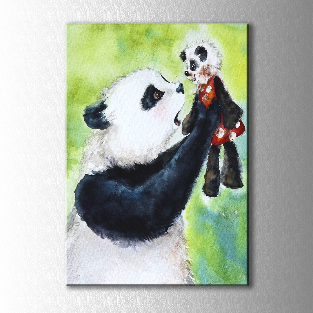 Panda Ve Yavrusu Kanvas Tablo