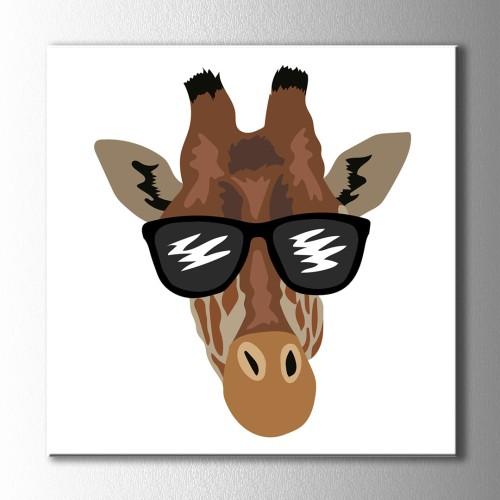 Gözlüklü Zürafa Kanvas Tablo