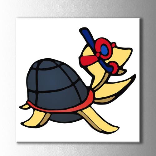 Şnorkelli Kaplumbağa Kanvas Tablo