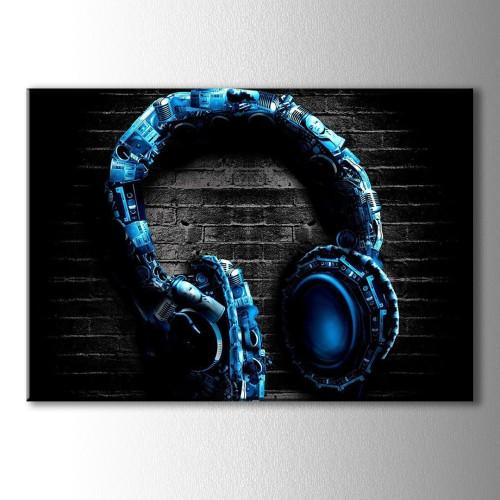 Mavi Dekoratif Kulaklık Kanvas Tablo