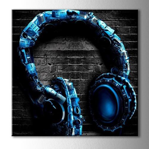 Kare Mavi Dekoratif Kulaklık Kanvas Tablo