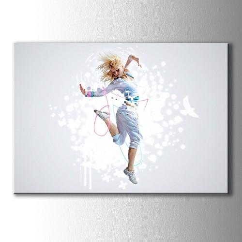 Beyaz Kuş ve Dans Kanvas Tablo