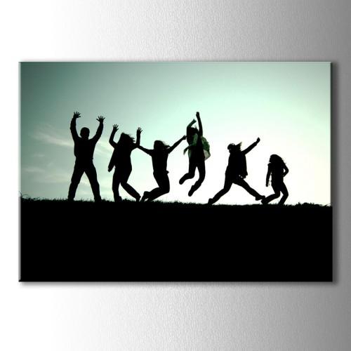 Dansçı Silüetler Kanvas Tablo