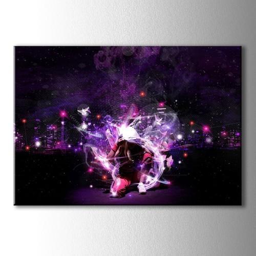 Mor Pembe Neon Işıklar ve Dans Kanvas Tablo