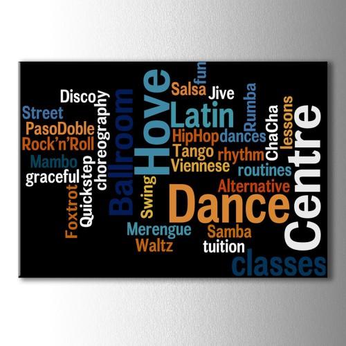 Dans Çeşitleri Tipografik Kanvas Tablo