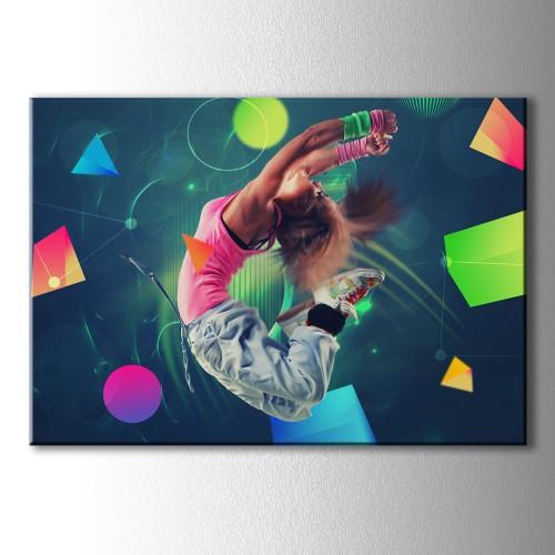 Geometrik Şekiller ve Dans Eden Kız Kanvas Tablo