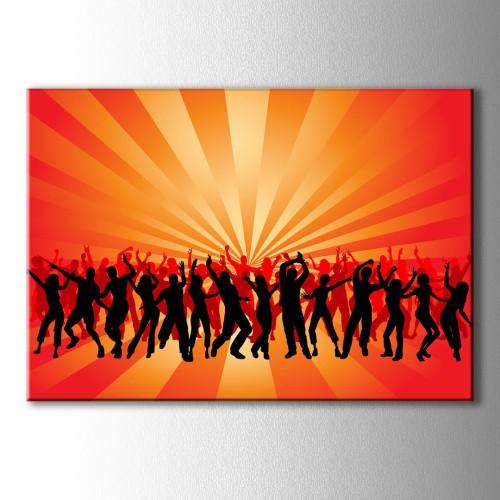 Dans Eden Kalabalık Silüet Kanvas Tablo