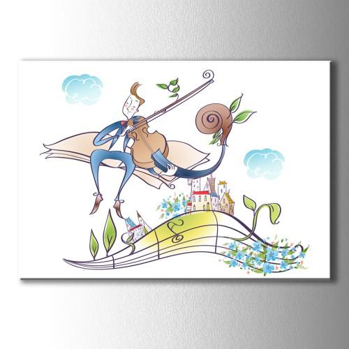 Çizim Kemancı Çocuk Kanvas Tablo