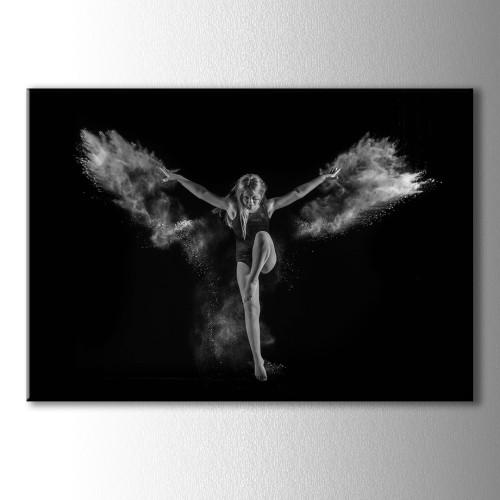 Duman Kanatlı Dansçı Siyah Beyaz Kanvas Tablo