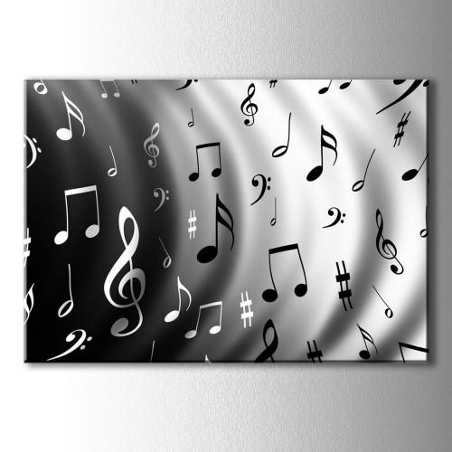 Siyah Beyaz Notalar Kanvas Tablo
