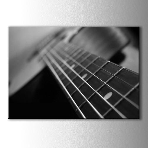 Siyah Beyaz Gitar Telleri Kanvas Tablo