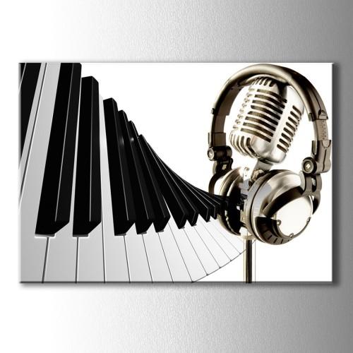 Dekoratif Piyano Tuşları Mikrofon ve Kulaklık Kanvas Tablo