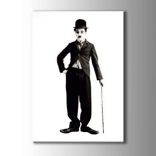 Charlie Chaplin Siyah Beyaz Kanvas Tablo