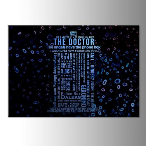 Tardis Mavi Siyah Kanvas Tablo