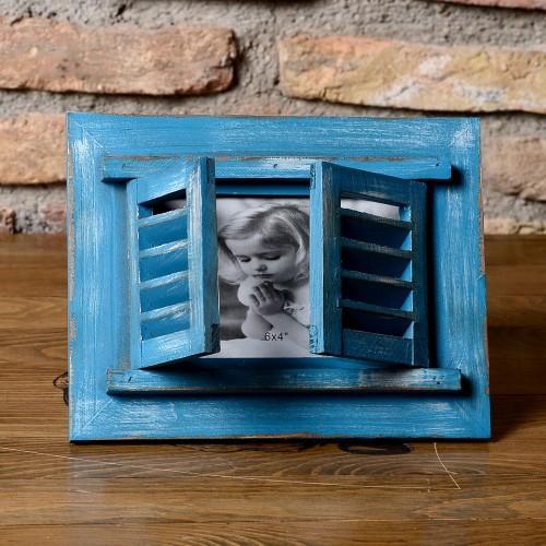 El Yapımı Mavi Panjurlu Çerçeve