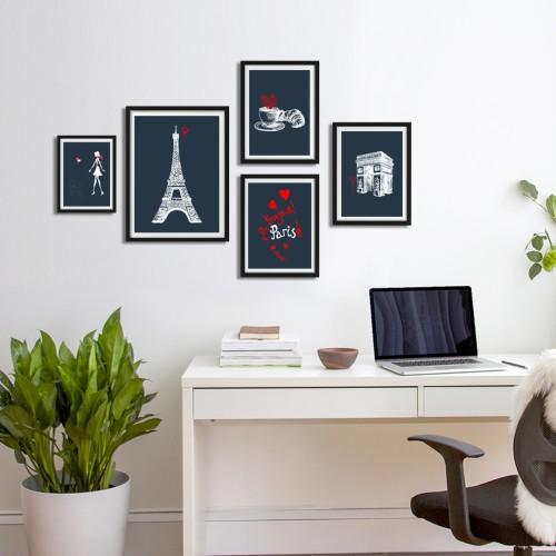 Paris Çizim Çerçeveli Poster Seti