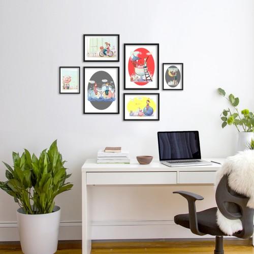 Mutlu Çift Çizim Çerçeveli Poster Seti