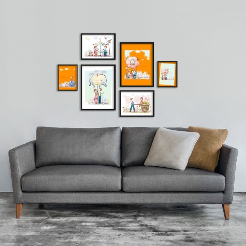 Turuncu Mutlu Çift Çizim Çerçeveli Poster Seti